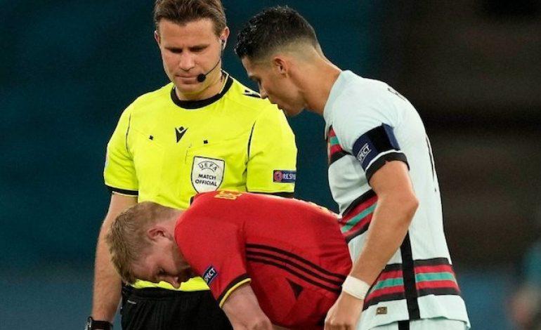 Berkelas! Cristiano Ronaldo Hibur Kevin De Bruyne yang Mengalami Cedera di Euro 2020